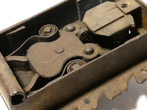 Antique 18-19thC Heavy Iron Door Lock with Patterned Border NO Key #T191C