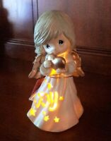 Lighted PRECIOUS MOMENTS Christmas ANGEL Ceramic Holiday Figurine