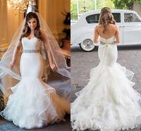 New Ruffles Ivory/White Mermaid Organza Bridal Gown Wedding Dress Custom Size