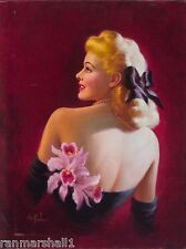 1940s Pin-Up Girl Pink Orchids Picture Poster Print Art Pin Up