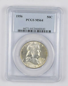 1956 MS64 Franklin Half Dollar - 90% SILVER - - PCGS Graded *087