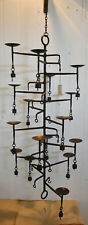 Candelabra 15 Cup with Bells on - Heavy wrought Iron 93x42x42cm