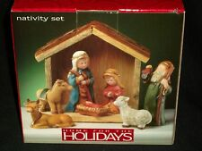 Home for the Holidays 8 Piece Porcelain Christmas Nativity Set Wood Creche 2003