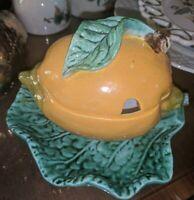 Dish Bowl Jam Jelly Jar Lemon Shaped Attached Drip Plate Vintage 768-A