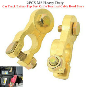 1 Pair M8 Heavy Duty Car Truck Battery Top Post Terminal Cable Head Brass  Kit