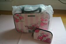 VICTORIA'S SECRET ZIP AROUND MULTI-USE COSMETIC TRAVEL BAG & SMALL POUCH!