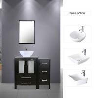 """36"""" Black Bathroom Vanity W/Small Side Cabinet& Ceramic Vessel Sink Top Modern"""