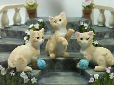 Set of 3 Miniature Cats Light Ginger CATPACK Poly Resin NEW 9319844503877 NEW