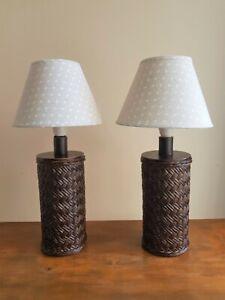 "Vintage Retro Pair of Table Lamps Bedside Lights in Brown ""Cane Webbing"" Design"