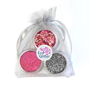 3 Biodegradable Glitters - Incl 1 Chunky! Festival Bio Eco Tattoos Gift Bag Khb