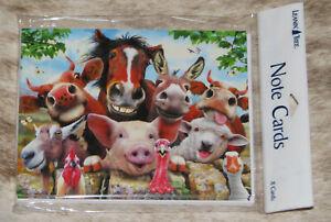 LEANIN TREE Happy Comical Farm Animals Selfie #35574~8 Notecards~Blank Inside~