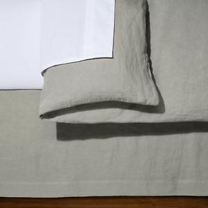 """Fieldcrest King Size Solid Linen BedSkirt CASHMERE GRAY 15"""" Drop - New"""
