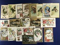 20 New Years Antique Postcards. Embossed, Gold Trim, For Collectors Nice w Value