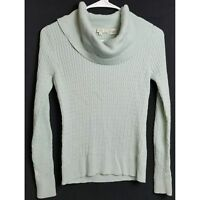 Pria Women's Long Sleeve Blue Cable Knit Sweater Small