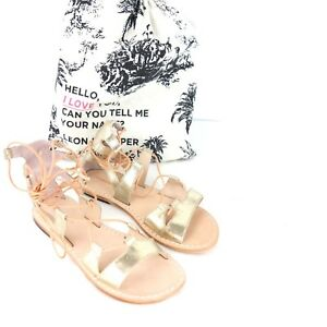Leon Harper Ladies Shoes Sandals Sneakers Malage Size 36 Gold Leather Np 148 New