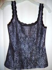 Vtg Sz S WHITE/BLACK House Market Steampunk Victorian Cami top costume Theater