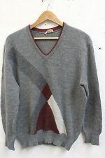 Vintage 80s Men's Sweater Jumper Size Medium Grey Geometric Retro Indie