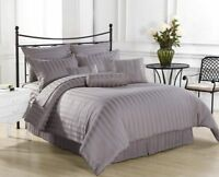 1000TC Egyptian Cotton Fitted/Flat/Sheet/Duvet Set Silver Grey Striped & UK-Size