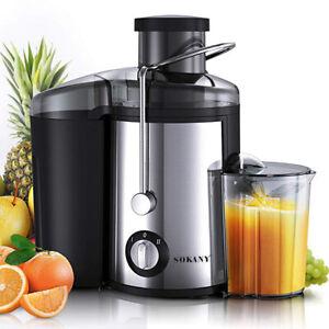 450ML Edelstahl Entsafter Maschine für Obst und Gemüse 500W 2 Modi