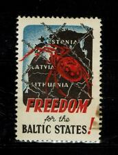 Estonia Latvia Lithuania Freedom for the Baltic States Vignet Stamp Red Spider