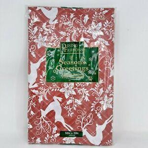 Christmas Seasons Greetings Reindeer Flannel Backed Vinyl Tablecloth Red White