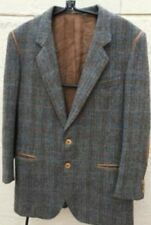 Gucci 60's Vintage Wool Herringbone Mens Jacket Leather Trim & Elbow Patches 38
