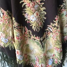 Antique Black Wool Piano Scarf Tablecloth Victorian Fringed Shawl Gothic Vintage