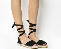 Womens Office Summer Bay Espadrilles With Ties Black Sandals