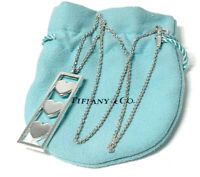 Tiffany & Co. Triple Heart Bar Pendant Necklace Sterling Silver 925 Auth