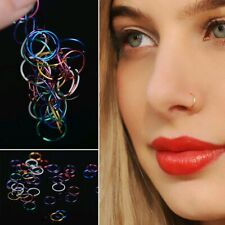 20Pc Mini Surgical Steel Nose Ring Lip Hoop Stud Gauge Body Piercing Jewelry Lot