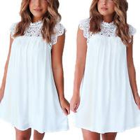 Womens Boho Lace Loose Short Mini Dress Ladies Summer Casual Party Shift Dresses