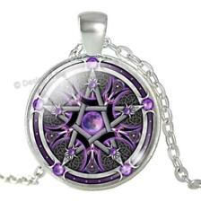Purple Moon Pentagram Glass Cabochon Pendant Silver Necklace Pentacle Wicca - UK