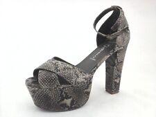 JEFFREY CAMPBELL Heels Carmen Platforms Snake Beige Black Ankle Strap 9/39 $255