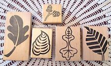 Lot 5 Mounted Rubber Stamps 4 Leaves Leaf & 1 Acorn Brand New