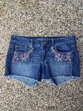 American Eagle Floral Embroidered Women's Jean Shorts Size 8