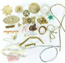 VTG Push Pin Sequin Embellished Ornament Craft Supplies Caps Ormolu Metal Paper