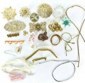 VTG Push Pin Sequin Embellished Ornament Craft Supplies Caps Ormolu Metal Paper