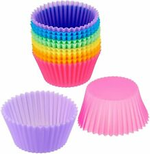Cupcake Molds, 12 Pack Reusable Silicone Baking Cups, Cases Baking Muffin Molds