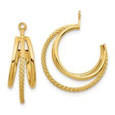 Twisted Triple Hoop Earring Jackets 14k 14kt Yellow Gold Polished &