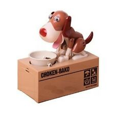 My Puppy Dog Electronic Coin Piggy Bank Eats & Saves Money Box White & Brown New
