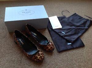 Genuine Prada shoes 39.5 leopard print patent BNIB  plus dust covers