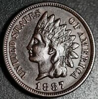 1887 INDIAN HEAD CENT - With LIBERTY & DIAMONDS - XF EF