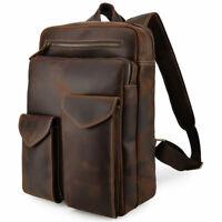 """Men Leather Vintage Backpack 14"""" Laptop Hiking School Bag College Travel Daypack"""