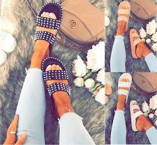 LADIES WOMENS FLAT SLIDERS STUDDED SLIP ON MULE SUMMER HOILDAY SANDALS SHOES SZ