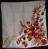 Vintage 1980's Silk Vera Neumann Grid Scarf w/ Floral Design (23 x 23)