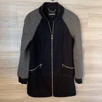Express Womens Sz S Full Zip Wool Coat Tunic Length Black Grey