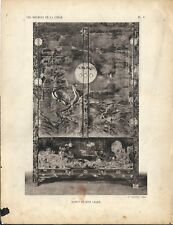 Stampa antica BUFFET MOBILE LACCATO CINESE CINA CHINA 1922 Antique print T. 5