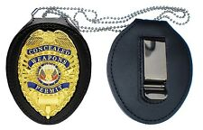 CCW BADGE and RECESSED Holder with CLIP  + NECK CHAIN police swat pistol gun
