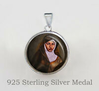 St Catherine of Bologna Catholic Medal. Italian Nun and Virgin. Sterling Silver