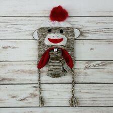 Monkey Sock Kids Hat & Mitten 2 Piece Set Pom Pom Knit Earflap Hat Beanie